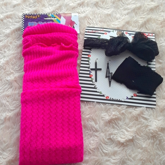 80's Hot Pink Leg Warmers with Accessories